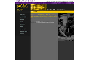 WCHC - Holy Cross Radio Station Website Preview
